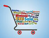 Shopping Cart Illustration: Mega or Big Weekend Sale Shopping Cart Banner with all key texts related to Sale