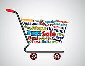 Shopping Cart Illustration: Mega or Big Sale Shopping Cart Banner with all key texts related to Sale