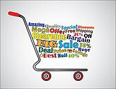 Shopping Cart Illustration: Mega or Big Clearence Sale Shopping Cart Banner with all key texts related to Sale