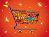 Shopping Cart Illustration: Mega or Big Festive Sale Shopping Cart Banner with all key texts related to Sale