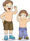 Strong Little Boy Siblings with Arms Flexed