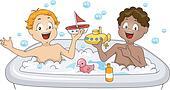Little Boys having a Bubble Bath