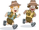 Boy and Girl Kids Running for Safari Adventure