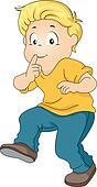 Little Kid Boy Silently Walking