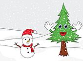 Happy snowman with spruce cartoon