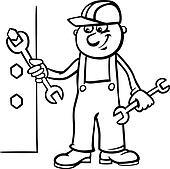 ten tool shapes worker with wrench coloring page