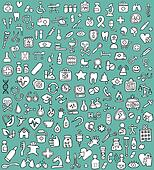 Big doodled medicine and health icons collection in black and wh