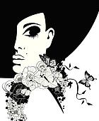 silhouette of a woman in a black hat with flowers and butterflies, vector illustration