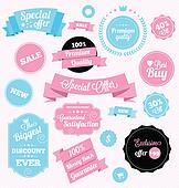 fashion shop vector stickers and ri
