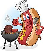 Hot Dog Cartoon Grilling On A Barbe