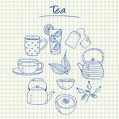 Tea doodles - squared paper