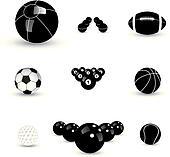 Concept vector graphic- black & white sports balls icons(symbols