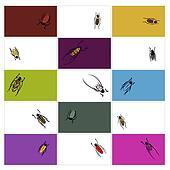 Design cards with beetles sketch