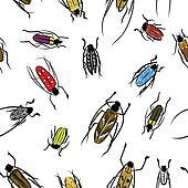 Beetles sketch, pattern for your design
