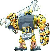 Robot Holding Wrench Vector Cartoon