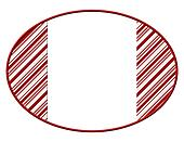 Oval Christmas Candy Cane Striped background for your message or invitation with copy-space