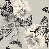 Seamless pattern with blooming pansies and butterflies. Vector i
