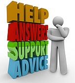 Help Answers Support Advice Thinking Man Beside Words