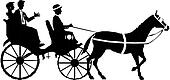 couple on horse and carriage