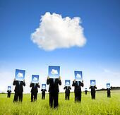 cloud computing and business thinking concept. businessman showing cloud thinking board on the field