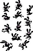 collection of fun rabbit silhouettes