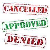 Cancelled, approved, denied stamps