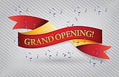 grand opening red waving ribbon banner