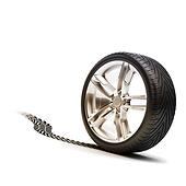 Tire and rim with tread