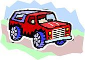 Vector cartoon 4x4 car.