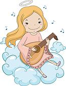 Girl Angel Playing Lute