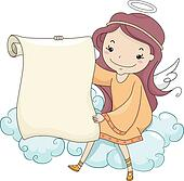 Girl Angel holding a Blank Scroll