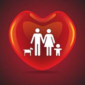 A basic family in big heart symbol, illustration