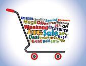Shopping Cart Illustration: Mega or Big Weekend Clearance Sale Shopping Cart Banner with all key texts related to Sale