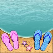 Flip-flop on the beach for couple