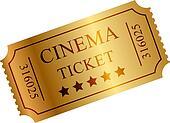 Vector illustration of gold ticket