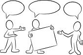 cartoon people with speech bubbles presenting