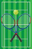 tennis court rackets and ball