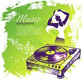 Music background with hand drawn illustration and dance girl sil