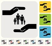 Hand protecting family(parents and children)- simple vector grap