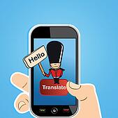 Smart phone translate concept