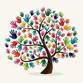 Colorful  solidarity hand tree