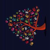 Colorful multi-ethnic hand prints tree