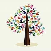 Colorful solidarity hand prints tree