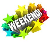 Weekend Stars Exciting Word Saturday Sunday Break