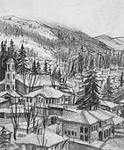 Drawing of Small Town Koprivshtica in the Winter