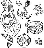 coloring book page - under the sea