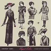 Elegant vintage ladies