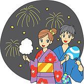 Japanese summer festival, couple