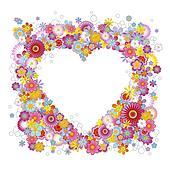 Heart-shaped floral frame