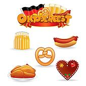 Oktoberfest Food and Drink Icons.